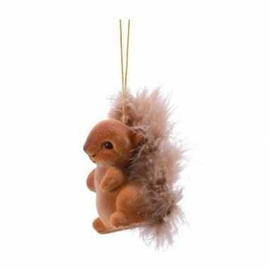 Kerstboomhanger/kersthanger bruine eekhoorns type 2 6 cm