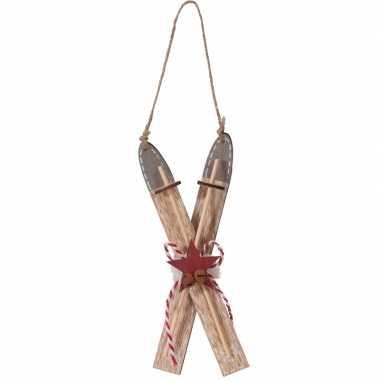 Kerstboomhanger/kersthanger bruine ski van hout 17 cm