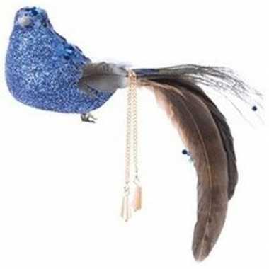 Kerstboomhanger/kersthanger clip blauwe vogels 5 cm foam/pauwenveren