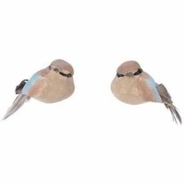 Kerstboomhanger/kersthanger clip bruine vogels 4 cm metallic foam/ver