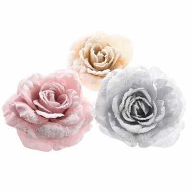 Kerstboomhanger/kersthanger clip roze rozen/bloemen 12 cm