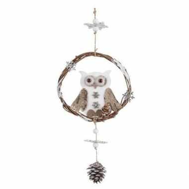 Kerstboomhanger/kersthanger/deurhanger houten uilen 32 cm