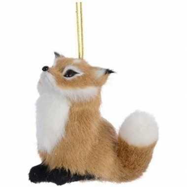 Kerstboomhanger/kersthanger dieren lichtbruine vossen 8 cm pluche