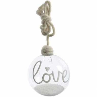 Kerstboomhanger/kersthanger doorzichtige kerstbal 10 cm love van glas