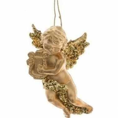 Kerstboomhanger/kersthanger gouden engelen met harp 10 cm