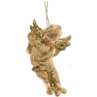 Kerstboomhanger/kersthanger gouden engelen met lute 10 cm