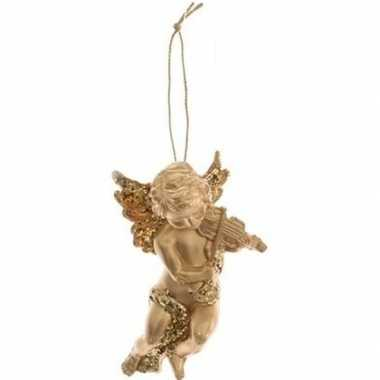 Kerstboomhanger/kersthanger gouden engelen met viool 10 cm