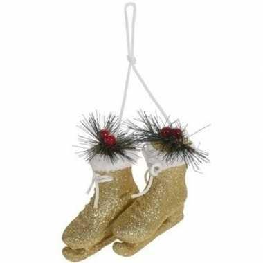 Kerstboomhanger/kersthanger gouden schaatsen 12 cm