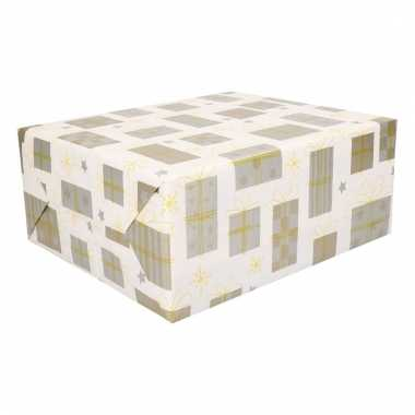 Kerstcadeau inpakpapier goud en wit 200 cm type 5