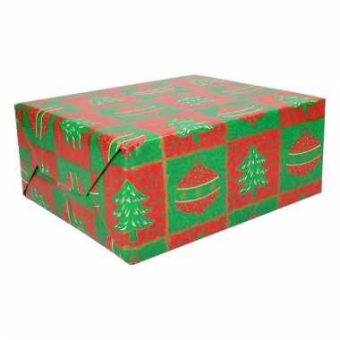 Kerstcadeau inpakpapier kerstboom en kerstbal 200 cm type 1