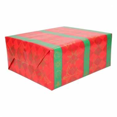 Kerstcadeau inpakpapier rood groen 200 cm type 3