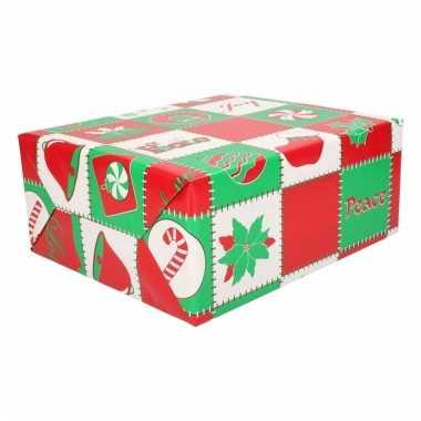 Kerstcadeau inpakpapier rood groen wit 200 cm type 4