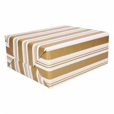 Kerstcadeau inpakpapier wit en gouden strepen 200 cm type 2