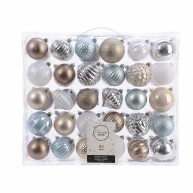 Kerstdecoratie set kerstballen zilver/ champagne/ blauw/ bruin 60 del