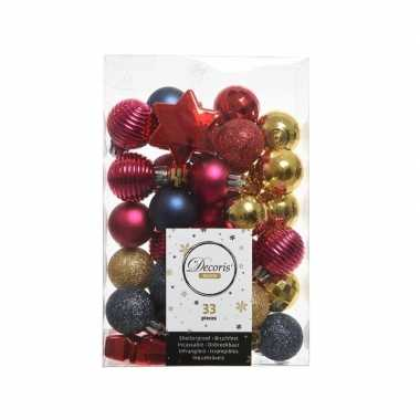 Kerstversiering kerstballen rood/roze/blauw 33 stuks
