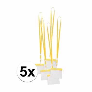 Keycord incl badgehouder voor aan een keycord geel 11 2 x 58 cm 10089815