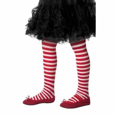 Kinder panty rood met wit gestreept one size