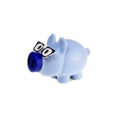 Kinder spaarpot varkentje blauw