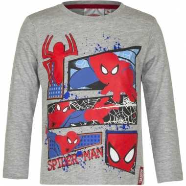 Kindershirt spiderman grijs