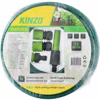 Kinzo tuinslang met sproeikop set 15 meter groen zwart