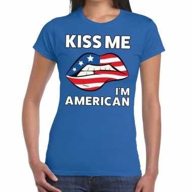 Kiss me i am american t-shirt blauw dames