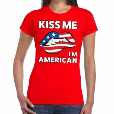 Kiss me i am american t-shirt rood dames