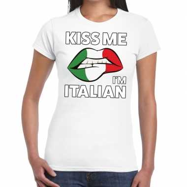 Kiss me i am italian t-shirt wit dames