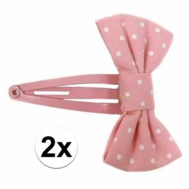 Klikklak speldjes roze strik met stippen