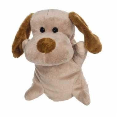 Knuffel handpop hond 24 cm