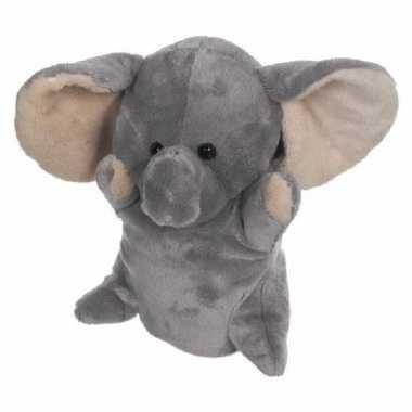 Knuffel handpop olifant 24 cm