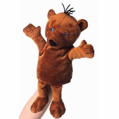 Knuffelbeer handpop bruin 22 cm