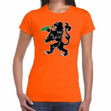 Koningsdag t-shirt oranje bier drinkende leeuw voor dames