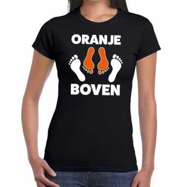Koningsdag zwart t-shirt oranje boven voor dames