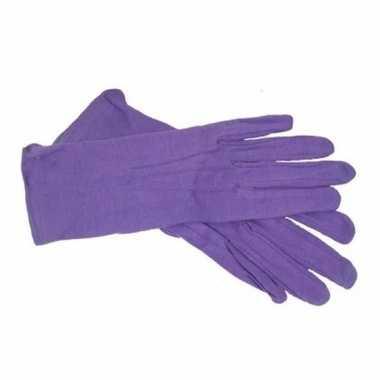 Korte paarse handschoenen