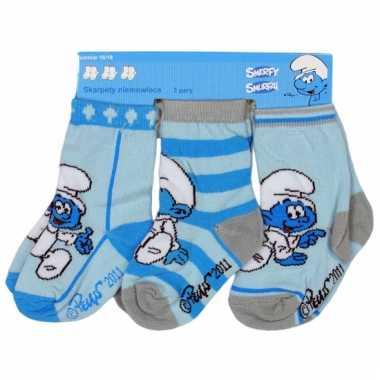 Kraamkado blauwe smurfen sokken