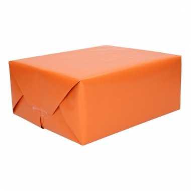 Kraft cadeaupapier donkeroranje 70 x 200 cm