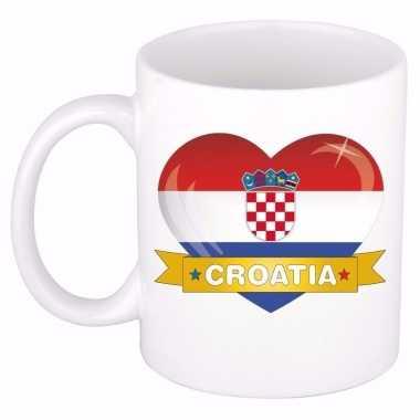 Kroatische vlag hart mok type 2 beker 300 ml