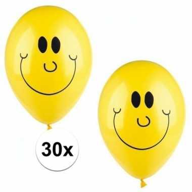 Lachende emoticon ballonnen 30 stuks