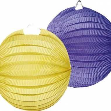 Lampion setje blauw en geel 4x