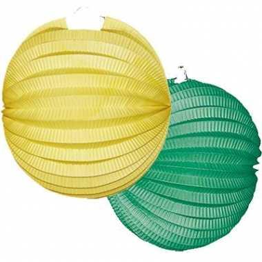 Lampionnen pakket geel en groen