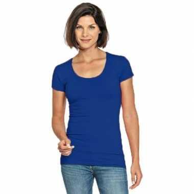 Lang dames t-shirt blauw met ronde hals