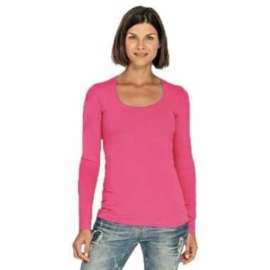 Lang dames t-shirt lange mouwen fuchsia roze met ronde hals