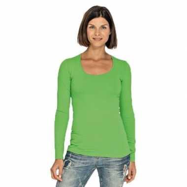 Lang dames t-shirt lange mouwen limegroen met ronde hals