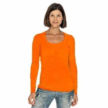 Lang dames t-shirt lange mouwen oranje met ronde hals