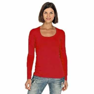 Lang dames t-shirt lange mouwen rood met ronde hals