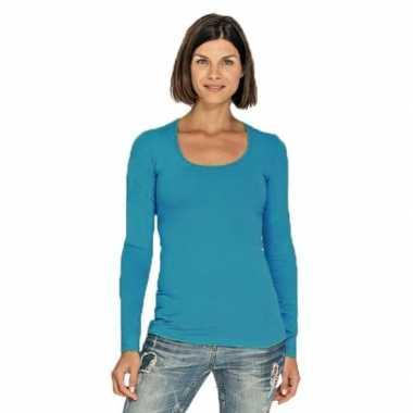 Lang dames t-shirt lange mouwen turquoise met ronde hals