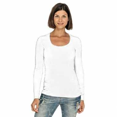 Lang dames t-shirt lange mouwen wit met ronde hals