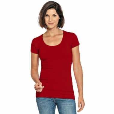 Lang dames t-shirt rood met ronde hals