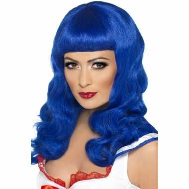 Lang haar pruik blauw met rechte pony
