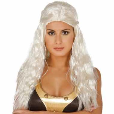 Lange blonde prinsessenpruik